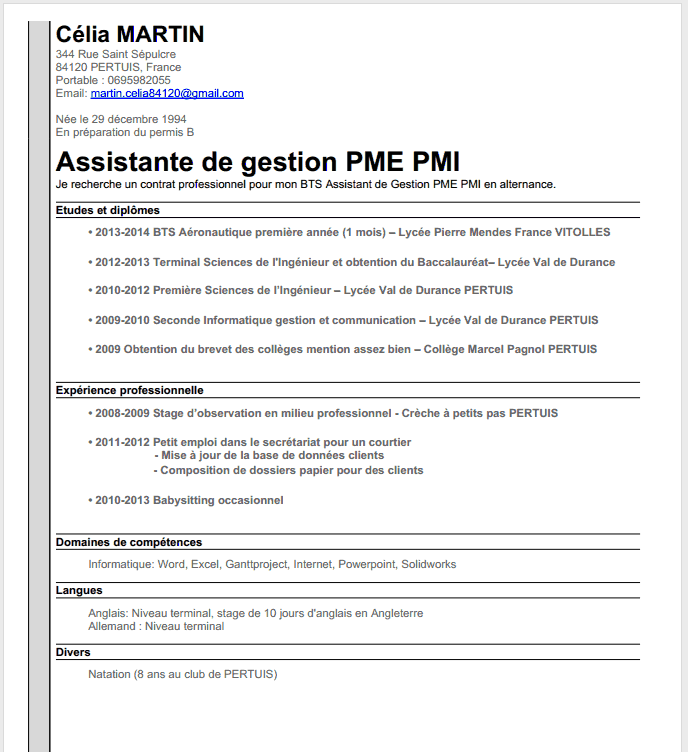 exemple de cv assistant de gestion en pme